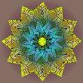 DAHLIA MANDALA FLOWER. PLAIN OLIVE BACKGROUND. COLORFUL DESIGN. CENTRAL FLOWER IN YELLOW, GREEN, BLUE, VIOLET, BROWN