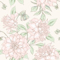 Dahlia pattern seamless flower sketch floral background for you scrapbooking Stock Images