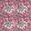Dahlia seamless retro styled pattern with hand drawn flowers Royalty Free Stock Photos