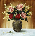 Dahlias in a ceramic vase Royalty Free Stock Images