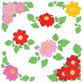 Dahlias flowers with green leaves as decorations for corners and bouquet - vector set