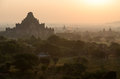 Dahmmayan gyi phaya in the mist bagan myanmar Royalty Free Stock Photo