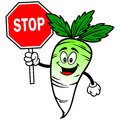 Daikon with stop sign vector illustration of a a Stock Photos