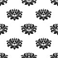 Dainty floral damask style fabric pattern with a small repeat arabesque motif in a seamless in square format Royalty Free Stock Photography