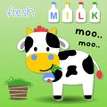 Dairy cow cartoon eating grass Royalty Free Stock Photo