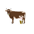 Dairy cow on a white background Royalty Free Stock Photo