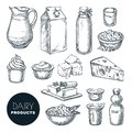 Dairy farm fresh products set. Vector hand drawn sketch illustration. Milk bottle, cottage cheese, yogurt, butter icons Royalty Free Stock Photo