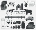 Dairy farm vector elements,milk icon set Royalty Free Stock Photo