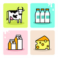 Dairy milk icon set cow and products Royalty Free Stock Photo