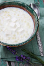 Dairy pasta with feta cheese and lavender Royalty Free Stock Photos