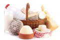 Dairy product wicker basket with Stock Image