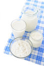 Dairy Products On Blue Tablecl...