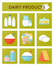 Dairy products flat set. Vector illustration.