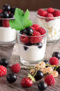 Dairy products with fresh berries. Cottage cheese, yogurt and sour cream in small glasses with berries. Royalty Free Stock Photo