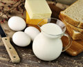 Dairy products and Fresh eggs Stock Photos
