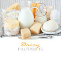 Dairy products fresh in the gray linen napkin rustic style Royalty Free Stock Photography