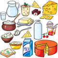 Dairy products icon set Stock Photo