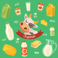 Dairy products isolated bitmap illustration milk product icons collection healthy food organic food farmers product Stock Photo