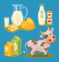 Dairy products isolated bitmap illustration milk product icons collection healthy food organic food farmers product Royalty Free Stock Photo