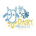 Dairy products logo symbol. Colorful hand drawn illustration