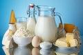 Dairy products, milk, cheese, egg, yogurt Royalty Free Stock Photo