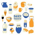Dairy products set: milk, cheese, butter, sour cream, ice cream, yogurt, cottage cheese. Doodle hand drawn vector illustration