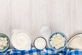 Dairy products. Sour cream, milk, cheese, yogurt and butter Royalty Free Stock Photo