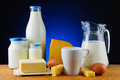 Dairy products still life with organic milk cheese butter and eggs Royalty Free Stock Photography