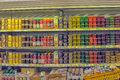 Dairy products at the supermarket a view on shelves Royalty Free Stock Image