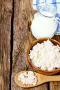 Dairy products on wooden background a Royalty Free Stock Photo