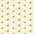 Daisies and butterflies seamless pattern Royalty Free Stock Photo