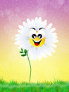 Daisy cartoon illustration of in the meadow Royalty Free Stock Image