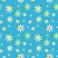 Daisy chamomile field meadow spring summer flowers seamless pattern on light blue sky background. Trendy ditsy floral Royalty Free Stock Photo