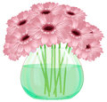 Daisy gerbera flower bouquet in glass vase on white background vector Stock Photography