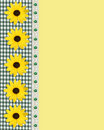 Daisy spring border green gingham Royalty Free Stock Photo