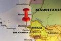 Dakar pinned map, capital of Senegal