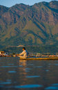 Dal Lake Mountains Landscape Boat Man Scenic Royalty Free Stock Photo