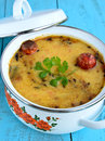 Dal tadka bowl of indian with Stock Photo