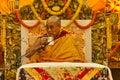 The dalai lama drinks tea at his blessings teachings th september temple mcleod ganj dharamsala india Royalty Free Stock Photography