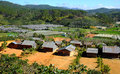 Dalat countryside housing settle landscape da lat viet nam dec amazing scene at group of wooden house among agriculture field for Royalty Free Stock Photos