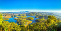 Dalat panoramic plateau early sun rays Royalty Free Stock Photo