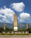 Dali three pagodas the ancient monument in yunnan province china Royalty Free Stock Image