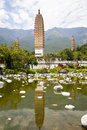 Dali three pagodas reflection the ancient monument in yunnan province china Royalty Free Stock Photos