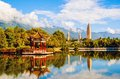 Dali three white pagodas and cangshan mountain taken in the yunnan china Stock Images