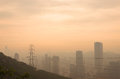Dalian sunrise view from Fuguo hill with city skyline in the morning Royalty Free Stock Photo