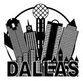 Dallas City Skyline Black and White Circle Vector Illustration Royalty Free Stock Photo