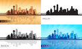 Dallas city skyline silhouettes set vector illustration Stock Photography
