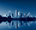 Dallas Skyline Reflection at Dawn, Downtown Dallas, Texas, USA Royalty Free Stock Photo