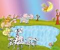 Dalmatian dogs to the lake at night moon donkey elephant Royalty Free Stock Photo