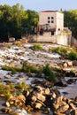Dam at ebro river in logrono la rioja day view of spain Royalty Free Stock Photo